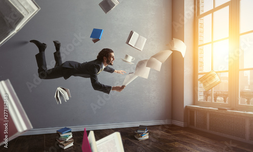 Deurstickers Graffiti collage Joyful happe businessman levitating horizontally