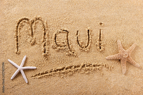 Fotografie, Tablou Maui beach sand sign
