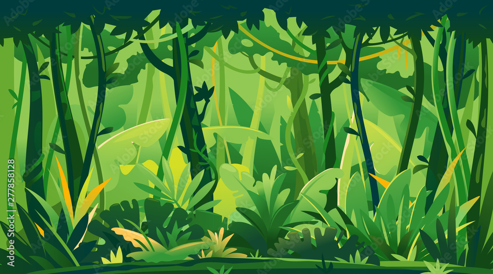 Fototapeta Wild jungle forest with trees, bushes and lianas, nature landscape with green jungle foliage and exotic plants growing on ground, horizontal banner with tropical plants on sunny day