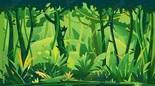 Foto auf AluDibond Grun Wild jungle forest with trees, bushes and lianas, nature landscape with green jungle foliage and exotic plants growing on ground, horizontal banner with tropical plants on sunny day