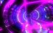 canvas print picture - 3D  abstract tunnel with neon lights. 3d illustration