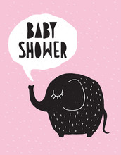 Baby Shower Vector Card With Funny Black Elephant  Isolated On A Pink Rainy Sky. White Bubble Cloud Over A Cute Baby Elephant. Lovely Nursery Art For Baby Girl Party Perfect For A Card, Invitation.