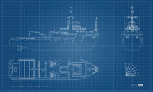 Blueprint Of Rescue Ship. Top, Side And Front View. Industry Outline Image. Isolated Drawing Of Boat