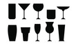 Cocktail silhouette icon symbol set. Different type glasses