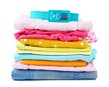 Stack Of Folded Colorful Cloth...