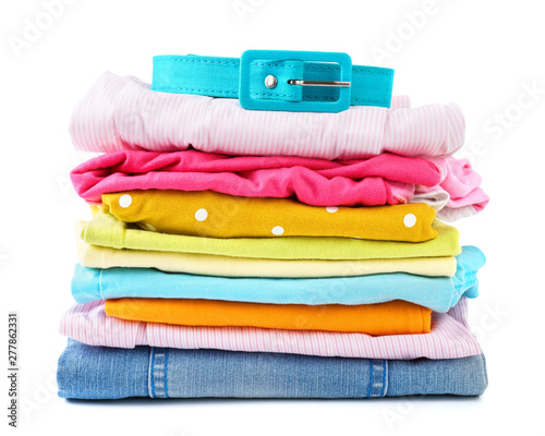 Obraz na plátně  Stack of folded colorful clothes for children and teens.