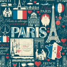 Vector Seamless Pattern On France And Paris Theme With Drawings, Inscriptions, Architectural Landmarks, Map And Flag Of French Republic In Retro Style. Can Be Used As Wallpaper, Wrapping Paper, Fabric
