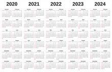 2020-2024 Annual Calendar With...