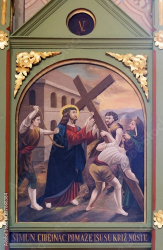 Fototapeta 5th Stations of the Cross, Simon of Cyrene carries, church of Saint Matthew in S
