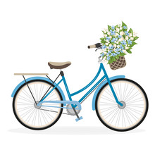 A Blue Lady Bicycle With A Flo...