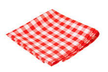 Red Checked Tablecloth Isolated On White Background