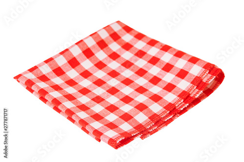Fotografia Red checked tablecloth isolated on white background