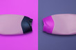 canvas print picture - Beauty, decorative cosmetics bottles. Pink and purple colors background, flat lay, top view, minimalistic pop-art style