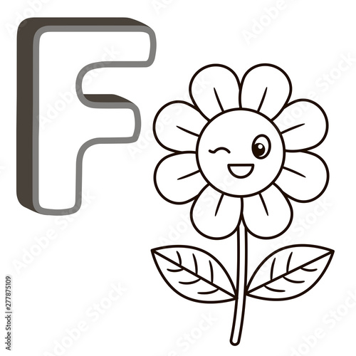Coloring Book Alphabet With Capital Letters Of The English And Cute Cartoon  Animals And Things. Coloring Page For Kindergarten And Preschool. Cards For  Learning English. Letter F. Flower Stock Illustration Adobe