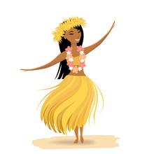 Hawaiian Girl Dancing Hula Isolated On White Background. Cute Polynesian Dancer In Costume, Yellow Grass Skirt, Hair Wreath, Hawaiian Lei.