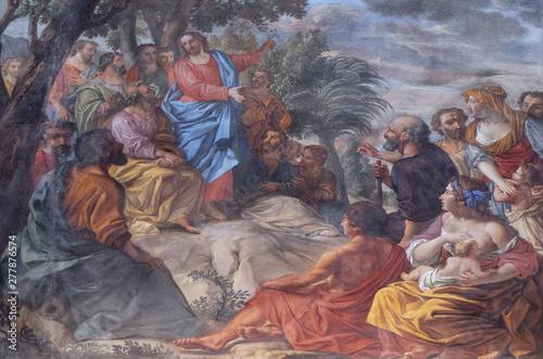 Fotografie, Obraz Sermon on the Mount, fresco in the basilica of Saint Andrew in Mantua, Italy