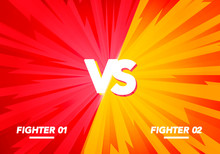 Vector Illustration Versus Screen. Fight Background, Yellow VS Red.