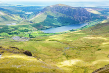 Track To Snowdon Summit Taking Ranger Path, North Wales, United Kingdom, View Of The Mountains, Lake From The Above, Selective Focus
