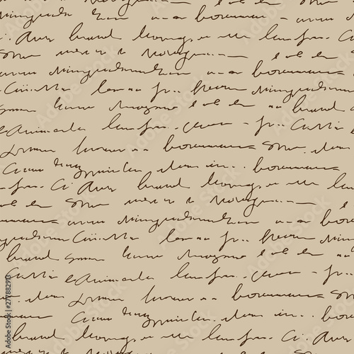 Tapety Beżowe handwritten-abstract-text-seamless-pattern-vintage-beige-vector-script-background