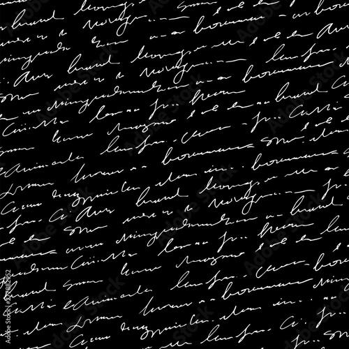 Valokuvatapetti Handwritten abstract text seamless pattern, blackboard, vector black and white s