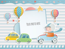Holiday Card Design With  A Boy Driving A Car.  Baby Shower. Paper, Scrapbook.