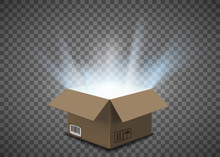 Open Empty Cardboard Box With A Glow Inside