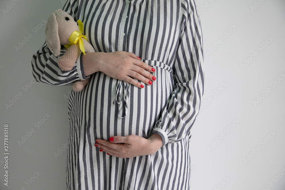 Fototapety, obrazy: A pregnany woman holding her tummy and a bunny teddy bear