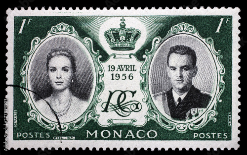 Stamp printed in Monaco with portrait of Grace Kelly and Prince Rainier to commemorate their marriage, circa 1956 Canvas Print