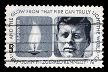 Stamp Printed In USA Shows President John Fitzgerald Kennedy, Circa 1964