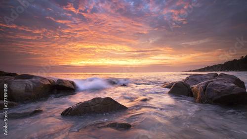 Aluminium Prints Salmon sunset over the sea