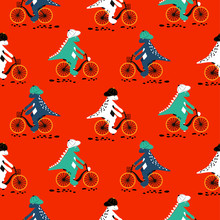 Cartoon Dinosaur On Bikes Seamless Pattern. Dino Child Characters Riding Bicycles Vector On White Background.