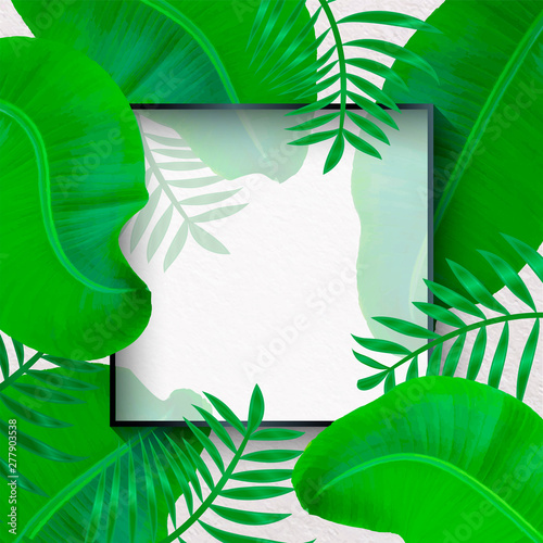 Vector Banner With Green Tropical Leaves On White Background Exotic Botanical Design For Cosmetics Spa Perfume Beauty Salon Travel Agency Buy This Stock Vector And Explore Similar Vectors At Adobe Stock