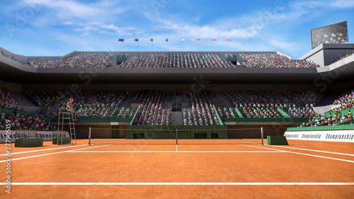 Foto Empty clay tennis court with spectators 3d render