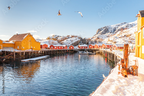 Obraz Traditional and very old fishing village - Nusfjord on Lofoten Islands archipelago in Norway, Scandinavia, Europe. Picturesque landscape of northern polar settlement. Traditional wooden houses rorbu. - fototapety do salonu