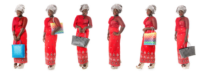 set of african woman in red taditional clothing with tote bags isolated