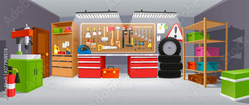 Foto op Aluminium Cartoon cars Garage background, building for a car to keep