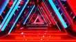 Abstract neon triangles with black empty copy space inside