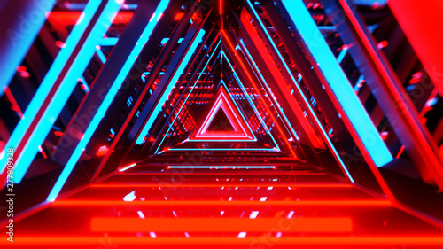 Abstract neon triangles with black empty copy space inside - 277909328