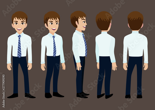 Photo Cartoon character with business man in suit for animation