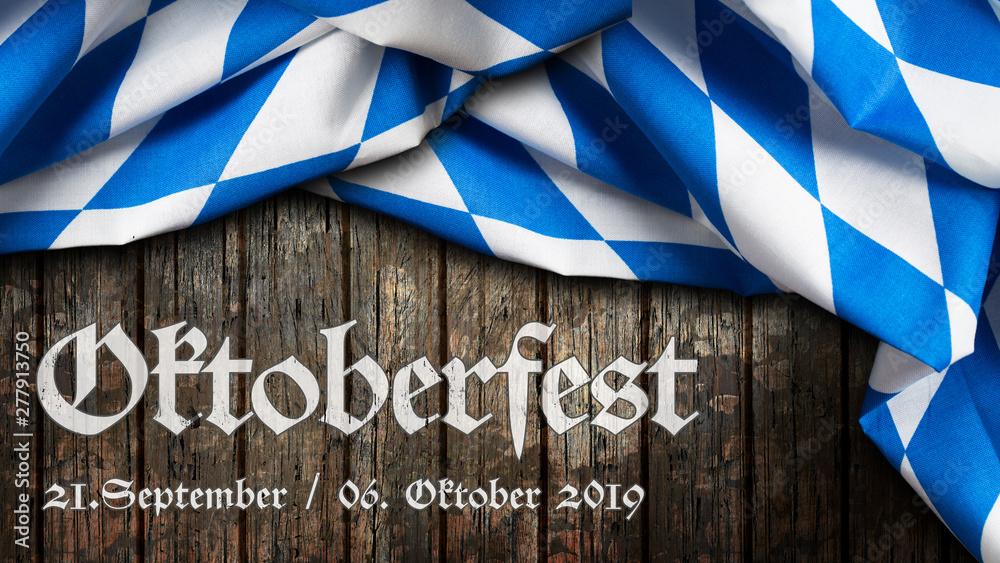 Fototapety, obrazy: Oktoberfest 2019 Banner mit bayrischem Tischtuch auf Holzhintergrund