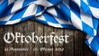 Leinwandbild Motiv Oktoberfest 2019 Banner mit bayrischem Tischtuch auf Holzhintergrund
