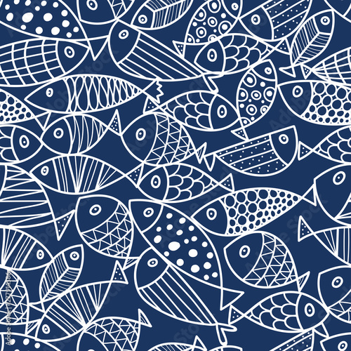 Fototapeta Cute fish.  Kids line background. Seamless pattern. Can be used in textile industry, paper, background, scrapbooking. obraz