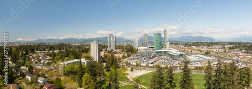 Panoramic view of Surrey Central Mall during a sunny day. Taken in Greater Vancouver, British Columbia, Canada.