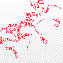 British Pound Notes Falling. Floating GBP Bills On