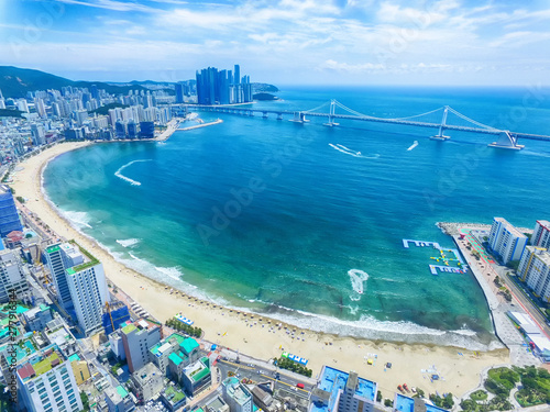 Tuinposter Dubai Aeril View of Sunny Summer Gwangalli Beach, Busan, South Korea, Asia..