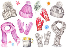 Winter Set Of Knitted Hats, Sc...