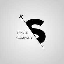 Capital S Letter Is Inserted In The Paper Slot With The Plane Slice Letter S For Travel Logo.