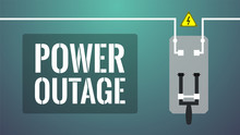 Power Outage Concept. Turned Off Knife Switch (circuit Breaker). No Current Available. Big White Lettering: Power Outage. Dark Background
