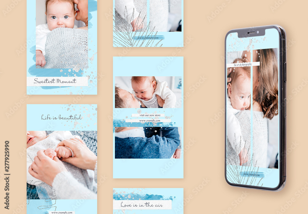 Fototapety, obrazy: Social Media Story Layouts Set with Silver Accents