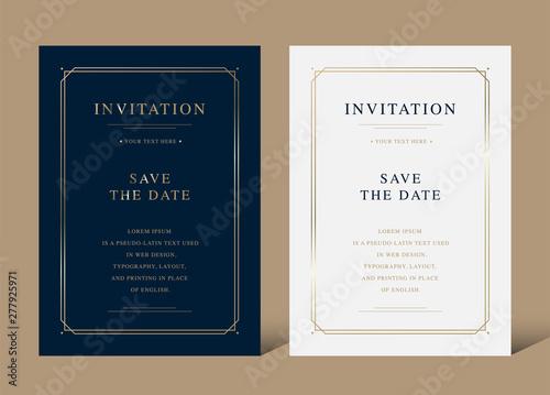 Cuadros en Lienzo Vintage luxury invitation card with golden frame vector design